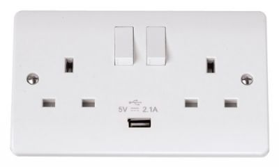 Scolmore Click Mode CMA770 13A 2 Gang Socket Outlet DP Switched with 2.1A USB Outlet
