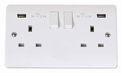 Scolmore Click Mode CMA780 13A 2 Gang Socket Outlet DP Switched with 2 x 2.1A USB Outlet