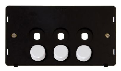 Scolmore Click Definity SIN143PL 3 Gang Dimmer Plate and Knob