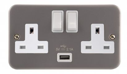 CL0770 2 Gang 13A DP Switched Socket Outlet with 2.1A USB Outlet