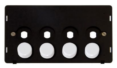 Scolmore Click Definity SIN144PL 4 Gang Dimmer Plate and Knob
