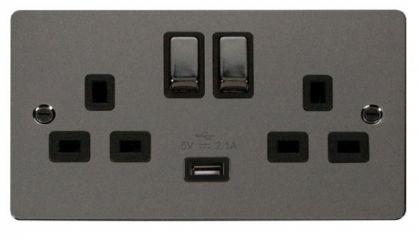 Scolmore Click Define FPBN570BK Ingot 2 Gang 13A DP Ingot Switched Socket with 2.1A USB Insert Black