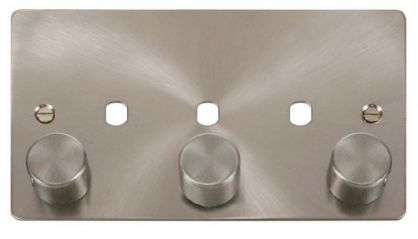 Scolmore Click Define FPBS153PL 3 Gang Dimmer Plate and Knob