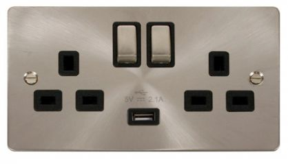 Scolmore Click Define FPBS570BK Ingot 2 Gang 13A DP Ingot Switched Socket with 2.1A USB Insert Black