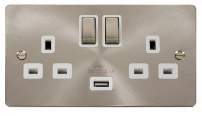 Scolmore Click Define FPBS570WH Ingot 2 Gang 13A DP Ingot Switched Socket with 2.1A USB Insert White