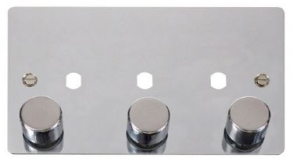 Scolmore Click Define FPCH153PL 3 Gang Dimmer Plate and Knob