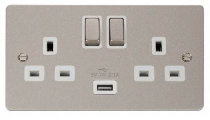 Scolmore Click Define FPPN570WH Ingot 2 Gang 13A DP Ingot Switched Socket with 2.1A USB Insert White