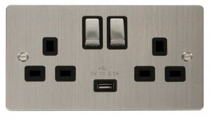 Scolmore Click Define FPSS570BK Ingot 2 Gang 13A DP Ingot Switched Socket with 2.1A USB Insert Black