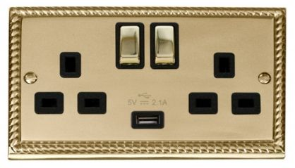 Scolmore Click Deco GCBR570BK 2 Gang 13A DP Ingot Switched Socket Outlet with 2.1A USB Insert Black