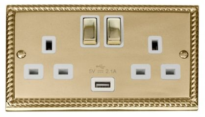 Scolmore Click Deco GCBR570WH 2 Gang 13A DP Ingot Switched Socket Outlet with 2.1A USB Insert White