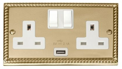 Scolmore Click Deco GCBR770WH 2 Gang 13A DP Switched Socket Outlet with 2.1A USB Insert White