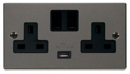 Scolmore Click Deco VPBN770BK 2 Gang 13A DP Switched Socket Outlet with 2.1A USB Insert Black