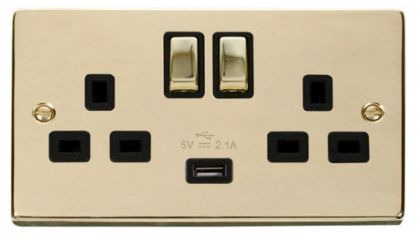 Scolmore Click Deco VPBR570BK 2 Gang 13A DP Ingot Switched Socket Outlet with 2.1A USB Insert Black