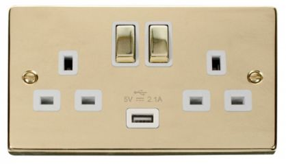 Scolmore Click Deco VPBR570WH 2 Gang 13A DP Ingot Switched Socket Outlet with 2.1A USB Insert White