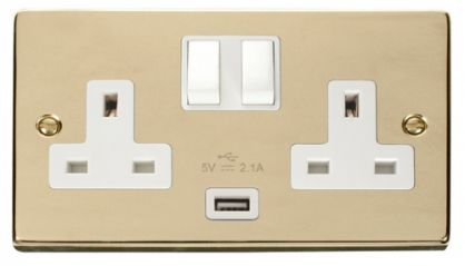 Scolmore Click Deco VPBR770WH 2 Gang 13A DP Switched Socket Outlet with 2.1A USB Insert White
