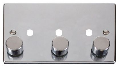 Scolmore Click Deco VPCH153PL 3 Gang Dimmer Plate and Knob