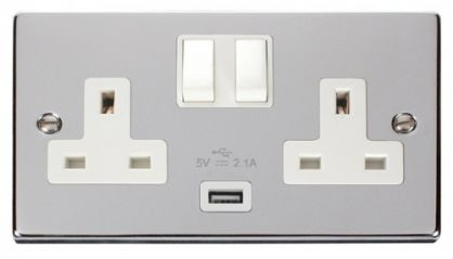 Scolmore Click Deco VPCH770WH 2 Gang 13A DP Switched Socket Outlet with 2.1A USB Insert White
