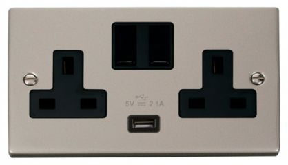 Scolmore Click Deco VPPN770BK 2 Gang 13A DP Switched Socket Outlet with 2.1A USB Insert Black