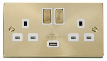 Scolmore Click Deco VPSB570WH 2 Gang 13A DP Ingot Switched Socket Outlet with 2.1A USB Insert White