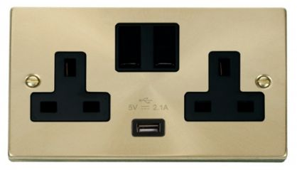 Scolmore Click Deco VPSB770BK 2 Gang 13A DP Switched Socket Outlet with 2.1A USB Insert Black
