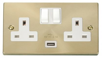 Scolmore Click Deco VPSB770WH 2 Gang 13A DP Switched Socket Outlet with 2.1A USB Insert White