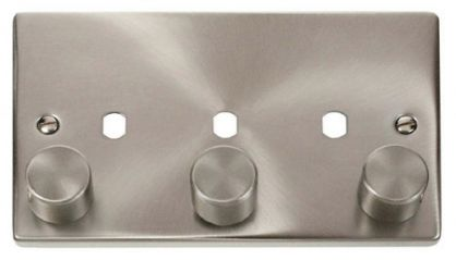 Scolmore Click Deco VPSC153PL 3 Gang Dimmer Plate and Knob