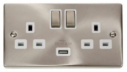 Scolmore Click Deco VPSC570WH 2 Gang 13A DP Ingot Switched Socket Outlet with 2.1A USB Insert White