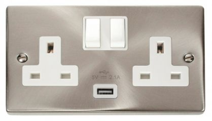 Scolmore Click Deco VPSC770WH 2 Gang 13A DP Switched Socket Outlet with 2.1A USB Insert White