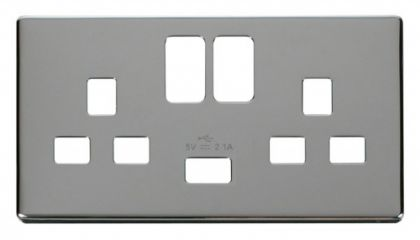 Scolmore Click Definity SCP470CH 2 Gang 13A Switched Socket with USB Cover Plate Polished Chrome