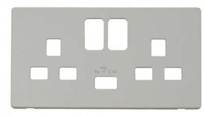 Scolmore Click Definity SCP470PW 2 Gang 13A Switched Socket with USB Cover Plate Polar White