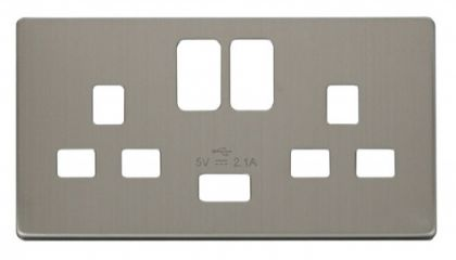 Scolmore Click Definity SCP470SS 2 Gang 13A Switched Socket with USB Cover Plate Stainless Steel