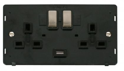 Scolmore Click Definity SIN570BKBS INGOT 2 Gang 13A DP Switched Socket with 2.1A USB Insert Black/Brushed Stainless