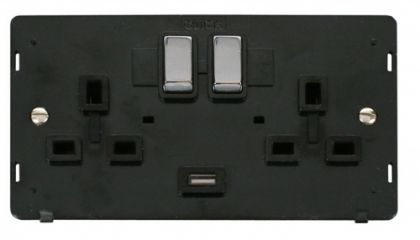 Scolmore Click Definity SIN570BKCH INGOT 2 Gang 13A DP Switched Socket with 2.1A USB Insert Black/Polished Chrome