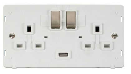 Scolmore Click Definity SIN570PWBS INGOT 2 Gang 13A DP Switched Socket with 2.1A USB Insert White/Brushed Stainless
