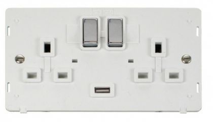 Scolmore Click Definity SIN570PWCH INGOT 2 Gang 13A DP Switched Socket with 2.1A USB Insert White/Polished Chrome