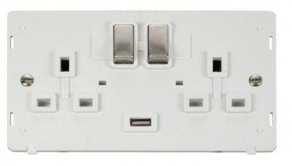 Scolmore Click Definity SIN570PWSS INGOT 2 Gang 13A DP Switched Socket with 2.1A USB Insert White/Stainless Steel