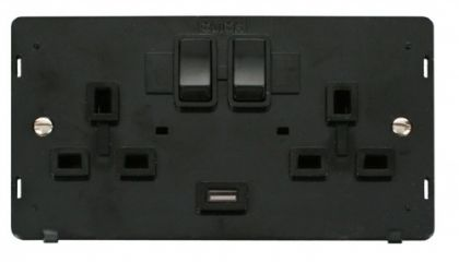Scolmore Click Definity SIN770BK 2 Gang 13A DP Switched Socket with 2.1A USB Insert Black
