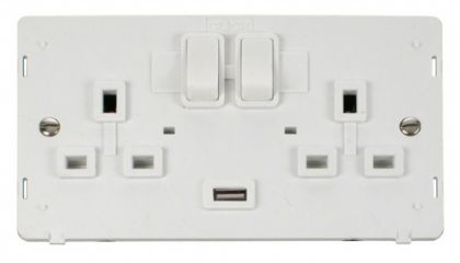 Scolmore Click Definity SIN770PW 2 Gang 13A DP Switched Socket with 2.1A USB Insert White