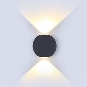 VTAC 6W LED Globe Wall Light Up & Down Black IP65