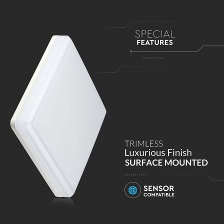 VTAC Trimless IP44 15W Square LED Dome Daylight