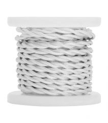 Lyyt Decorative Braided 2 Core Mains Cable White 5 Meters