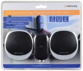Mercury Wireless Twin Plug-in Doorbell with LED Alert Black