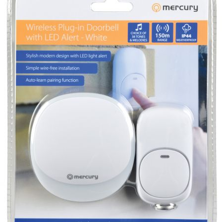 Mercury Wireless Plug-in Doorbell with LED Alert White