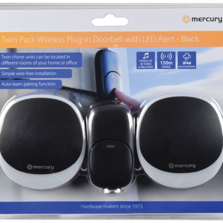 Mercury Wireless Twin Plug-in Doorbell with LED Alert Black