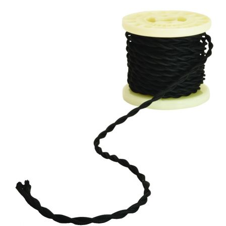 Lyyt Decorative Braided 2 Core Mains Cable Black 5 Meters