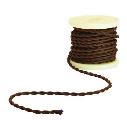 Lyyt Decorative Braided 2 Core Mains Cable Brown 5 Meters