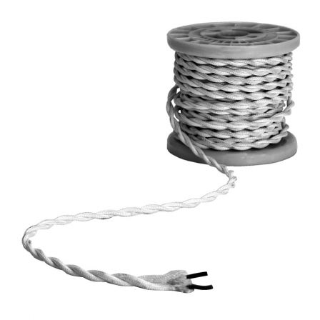 Lyyt Decorative Braided 2 Core Mains Cable Silver 5 Meters