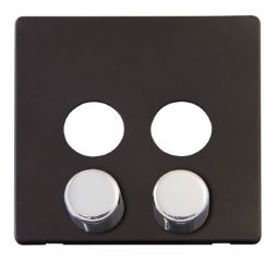 Scolmore Click Definity SCP242BK 2 Gang Dimmer Switch Cover Plate Black with Chrome Knobs