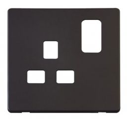 Scolmore Click Definity SCP435BK 1 Gang 13A Switched Socket Cover Plate Black