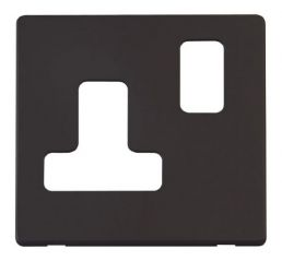 Scolmore Click Definity SCP234BK 15A Round Pin Switched Socket Cover Plate Black